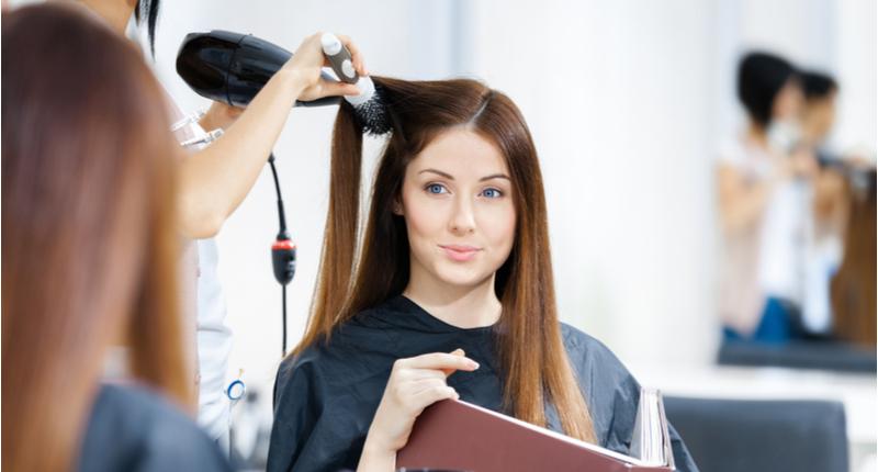 brunette at hair salon