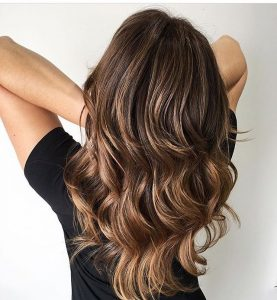 espresso hair with highlights